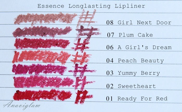 Essence Longlasting lipliner shades and swatches