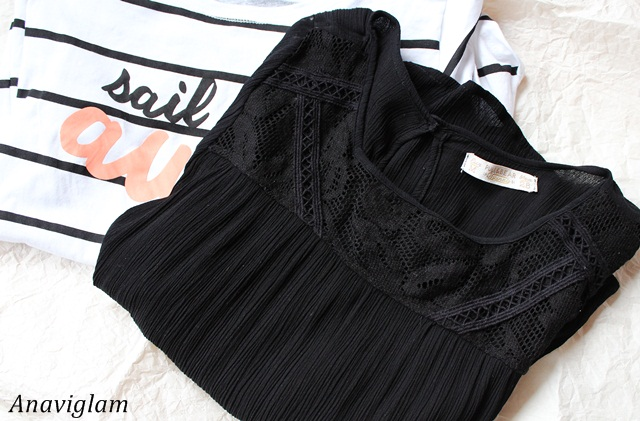 Pull&Bear Basic Top With Embroidered Front in black 1