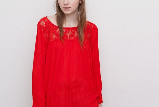 Pull&Bear Basic Top With Embroidered Front in red