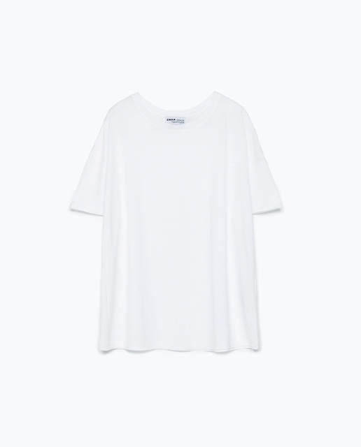 Zara zara Striped print t-shirt white