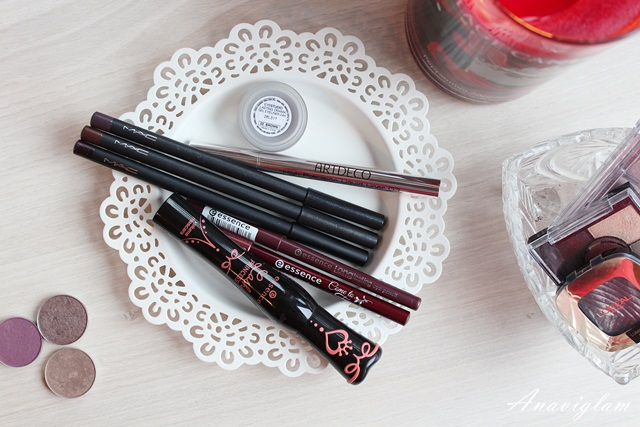 8 eyes Essence mascara Maybelline New York gel eyeliner ArtDeco liquid eyeliner MAC eye pencil