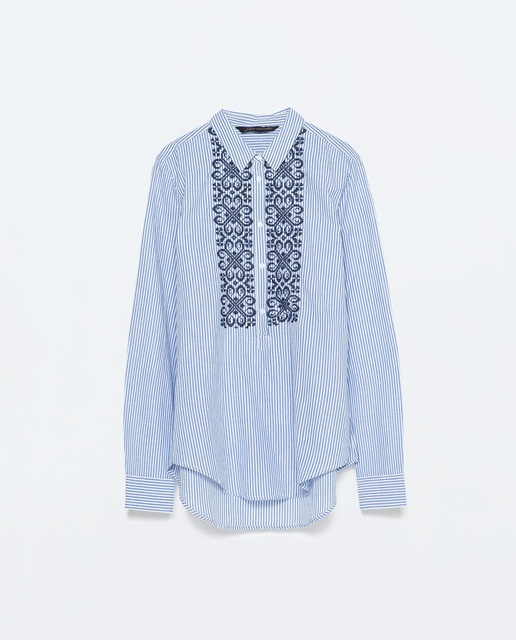 Zara Striped blouse with embroidered bib