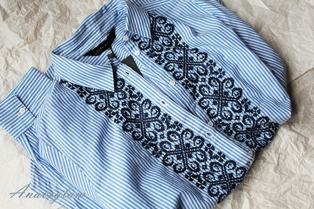 Zara striped blouse with embroidered bib blog