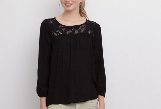 Pull&Bear Basic Top With Embroidered Front in black