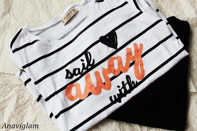 Pull&Bear Striped Slogan t-shirt 1