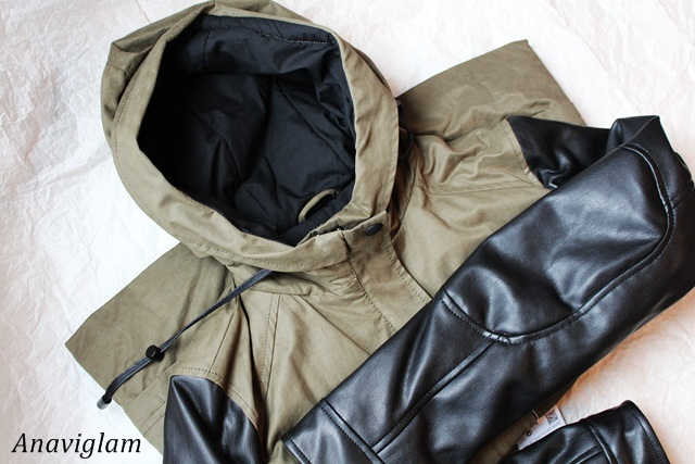 Zara Hooded parka with leather effect sleeve 1