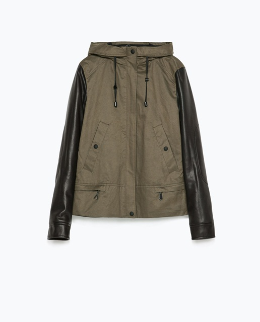 Zara Hooded parka with leather effect sleeve