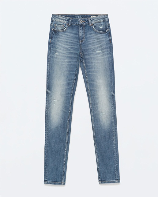 Zara Light wash ripped mid-rise skinny jeans