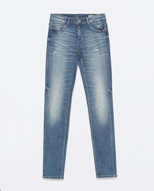 Zara Light wash ripped mid-rise skinny jeans