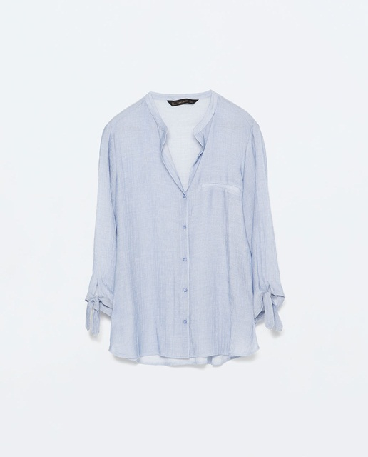 Zara Striped blouse with tie-sleeves