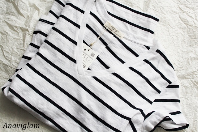 Zara V-neck striped t-shirt 1