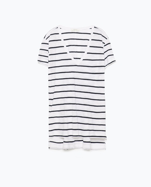 Zara V-neck striped t-shirt