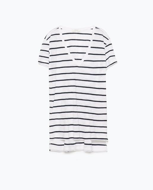 Zara V-neck striped t-shirt
