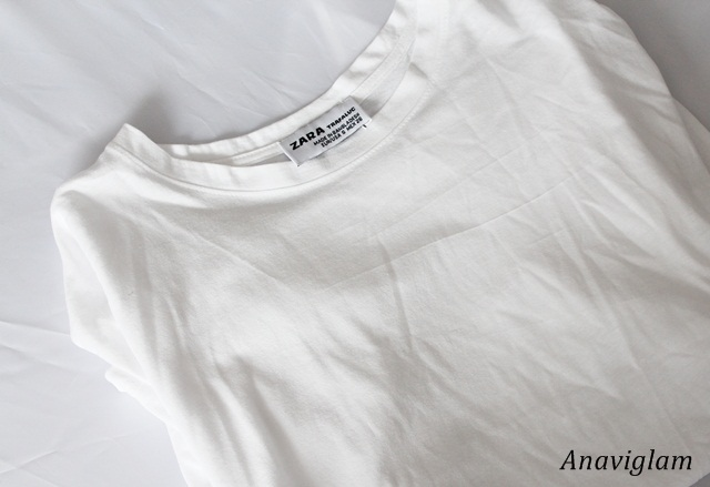 Zara zara Striped print t-shirt white 1