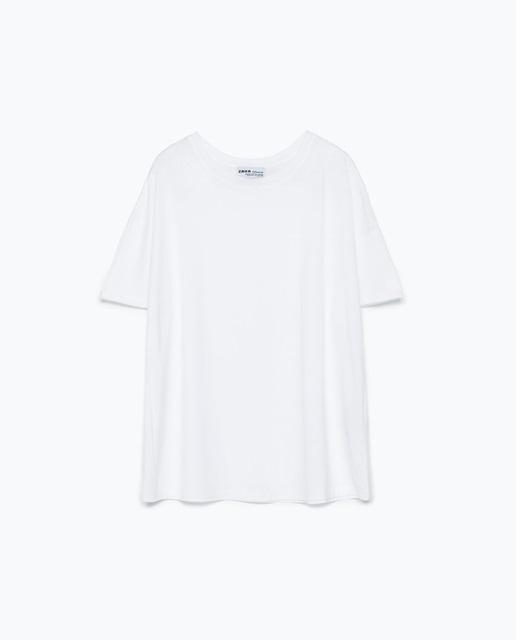 Zara zara Striped print t-shirt white